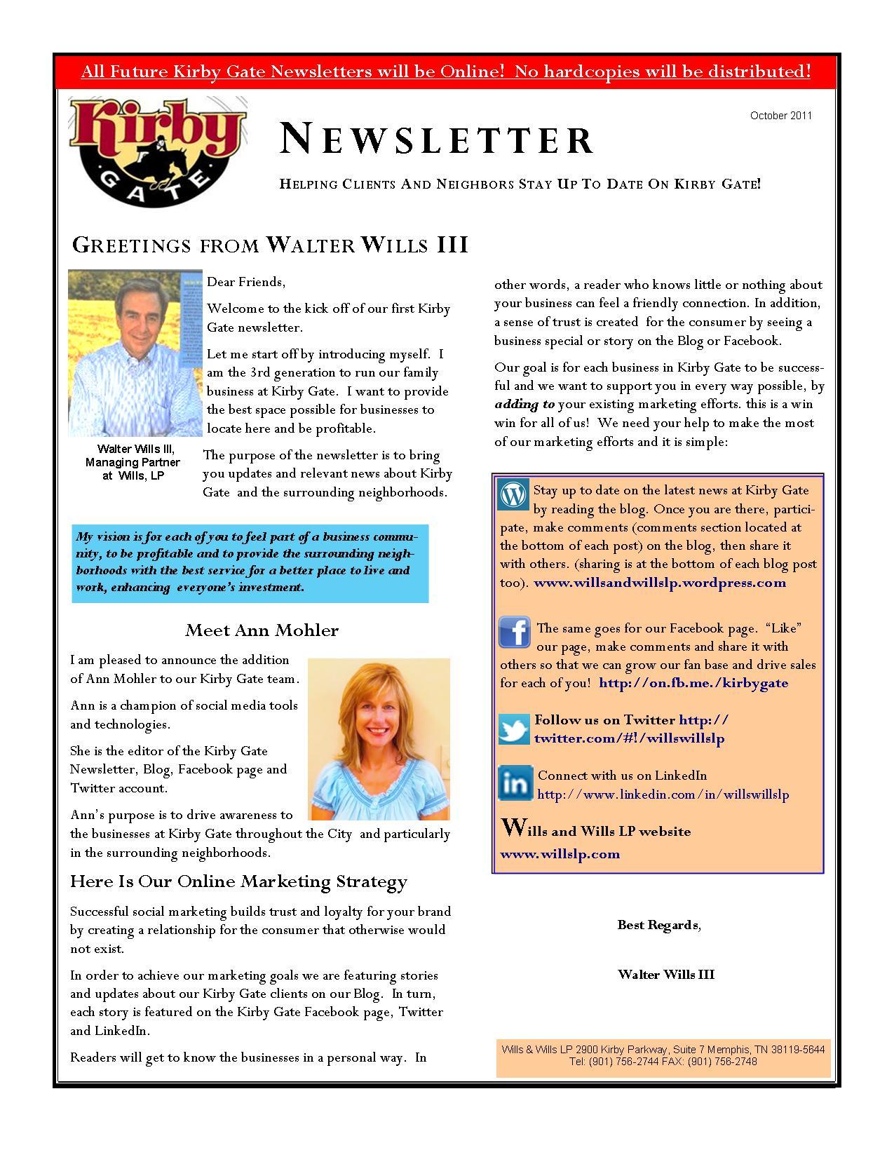 Kirby Gate Launches Newsletter Explaining Social Media Benefits ...